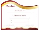 Member Certificate Template