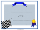 Woodcar Derby First Place Certificate