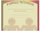 Family Reunion Certificate Template