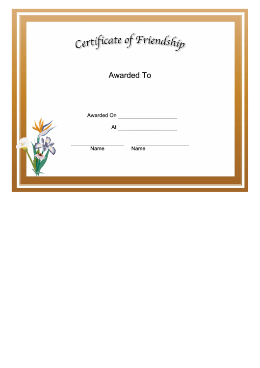 friendship certificate printable pdf download