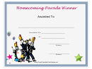 Parade Homecoming Certificate