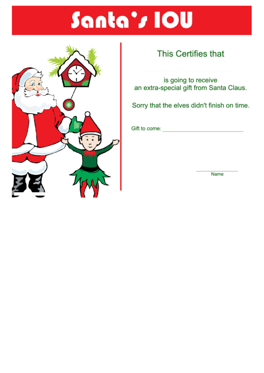 Santa's Extra Special Gift Certificate Template