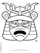 Samurai Female Mask Outline Template