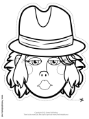 Wild West Female Mask Outline Template
