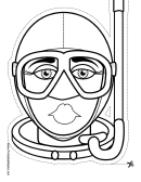 Female Diver Mask Outline Template