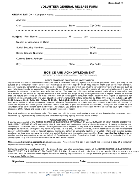Volunteer General Release Form
