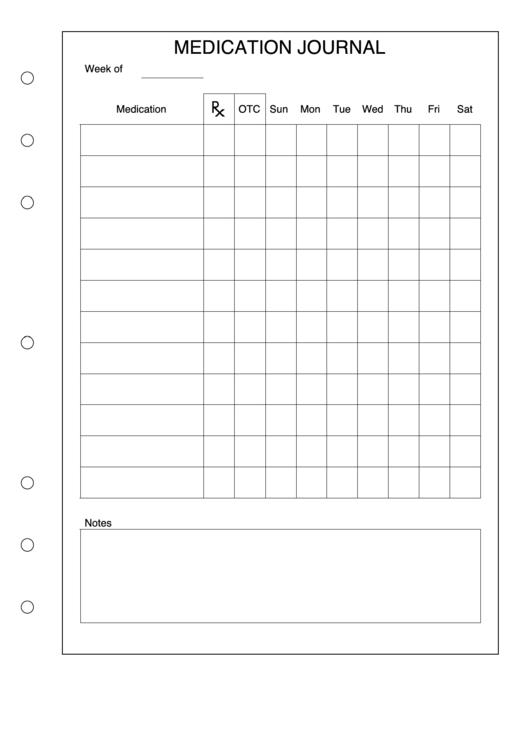 Medication Journal Template Printable pdf