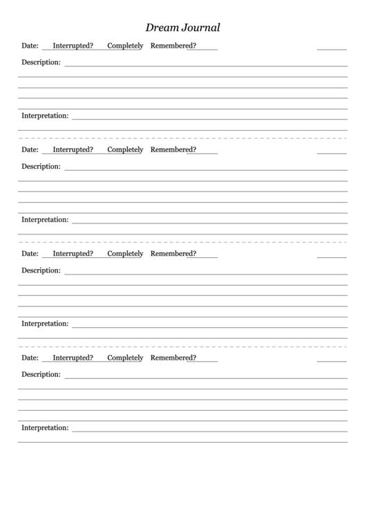 Dream Journal Template Printable Pdf