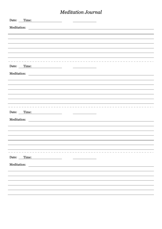 meditation journal template printable pdf download
