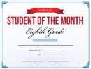 8th Grade Student Of The Month Certificate