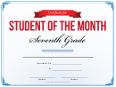 7th Grade Student Of The Month Certificate