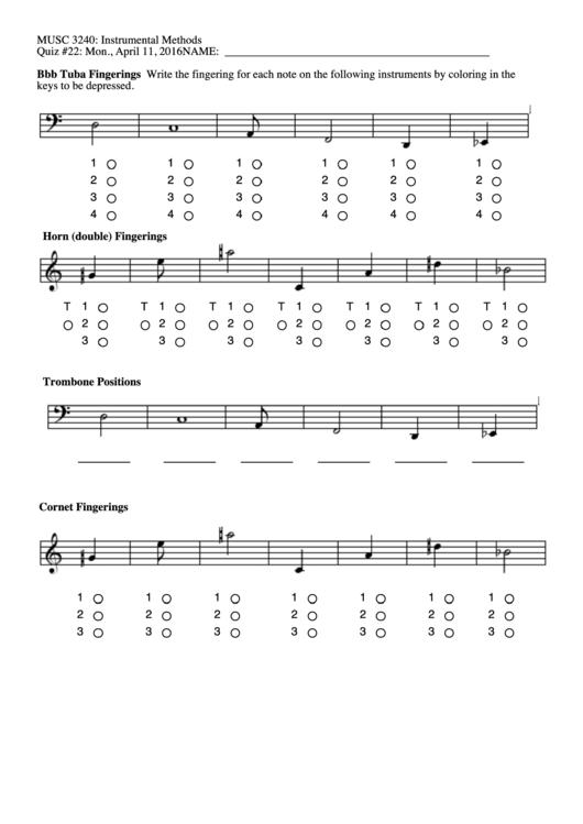 Bbb Tuba Fingerings Printable pdf