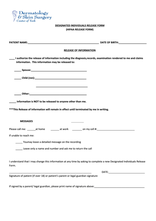 Designated Individuals Release Form (Hipaa Release Form) Printable pdf