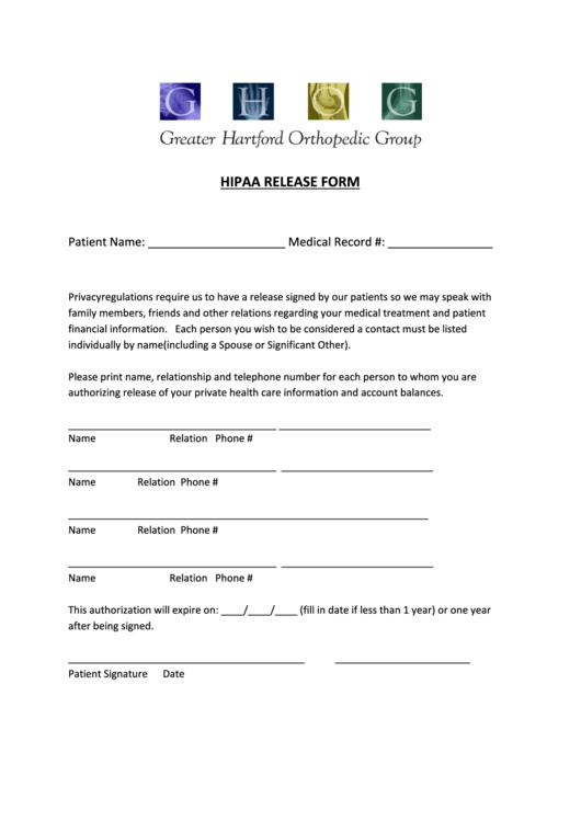 Hipaa Release Form Printable pdf