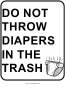 No Diapers In Trash