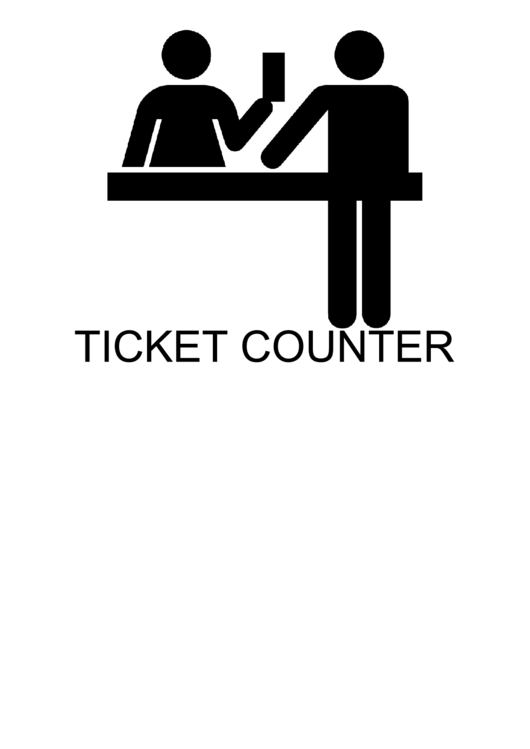 Ticket Counter With Caption Sign Printable pdf