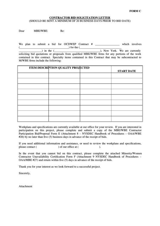 Contractor Bid Solicitation Letter
