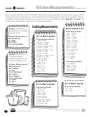 Kitchen Measurements Worksheet