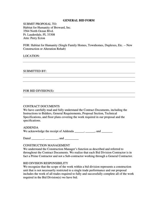 general bid form printable pdf download