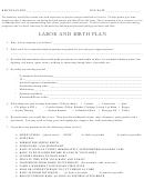 Labor And Birth Plan