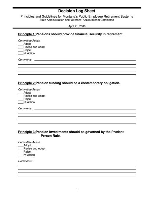 Decision Log Sheet