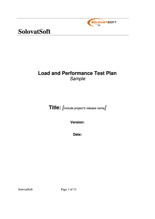 Load And Performance Test Plan