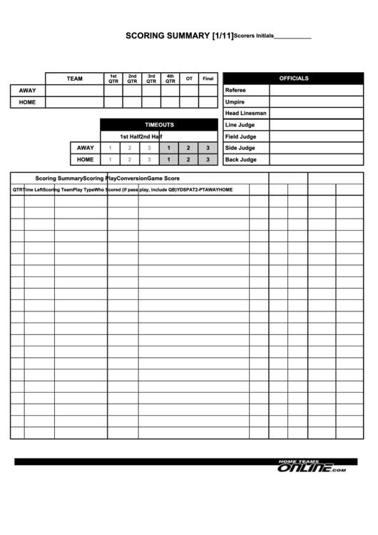 Footbal Score Summary Sheet Template