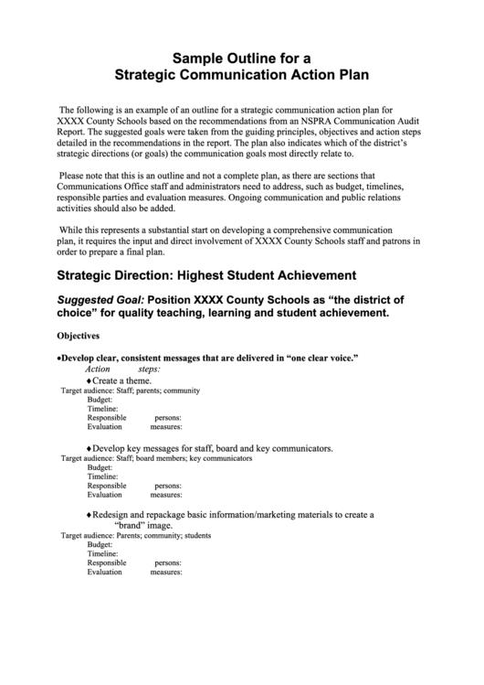 Sample Outline For A Strategic Communication Action Plan Printable pdf