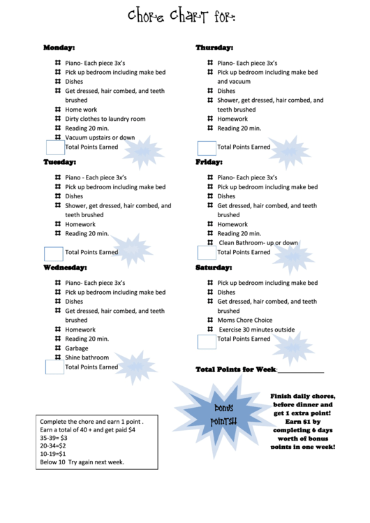Weekly Chore List For Kids
