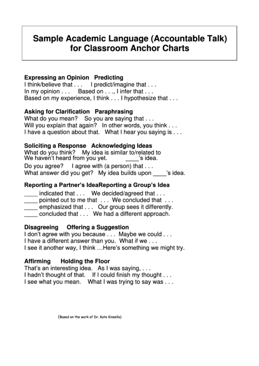 sample academic language  accountable talk  for classroom