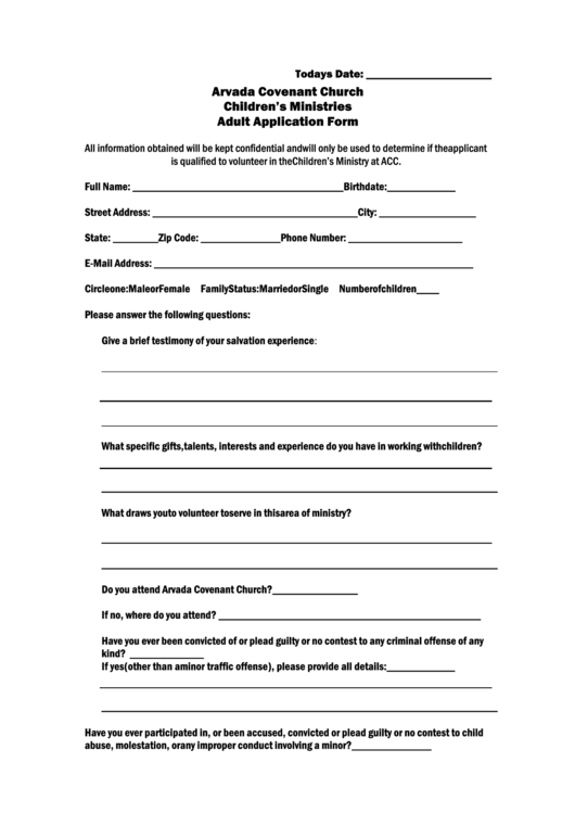 Arvada Covenant Church Children's Ministries Adult Application Form