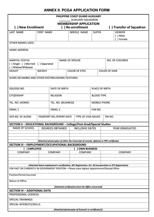 Fillable Philippine Coast Guard Auxiliary Application Form