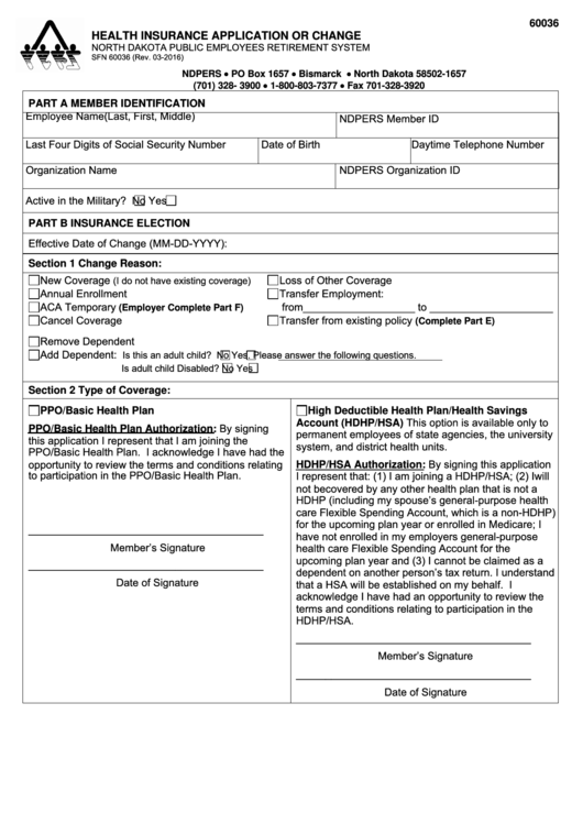 Form 60036 Health Insurance Application Or Change