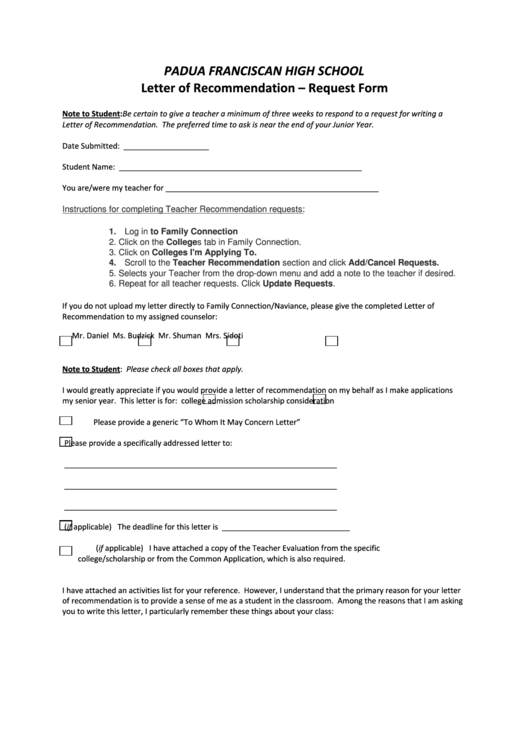 Request Form - Padua Franciscan High School printable pdf