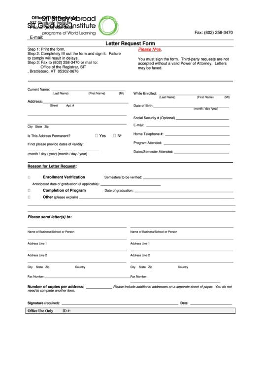Letter Request Form - Sit Graduate Institute Printable pdf