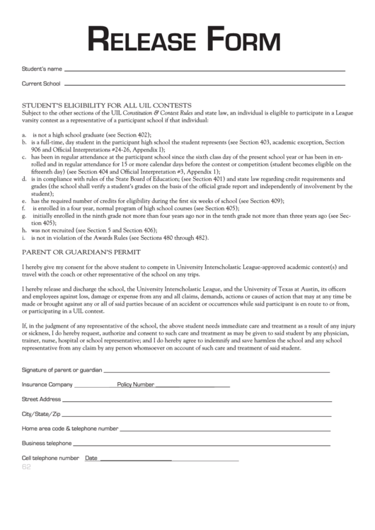 Top 5 Uil Eligibility Form Templates free to download in PDF, Word ...