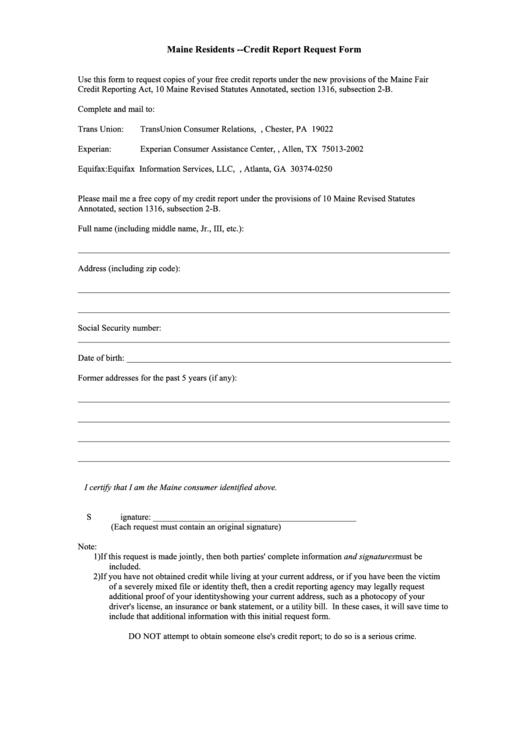 annual credit report request form pdf
