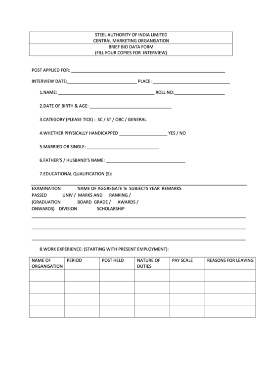 Steel Authority Of India Limited Brief Bio Data Form
