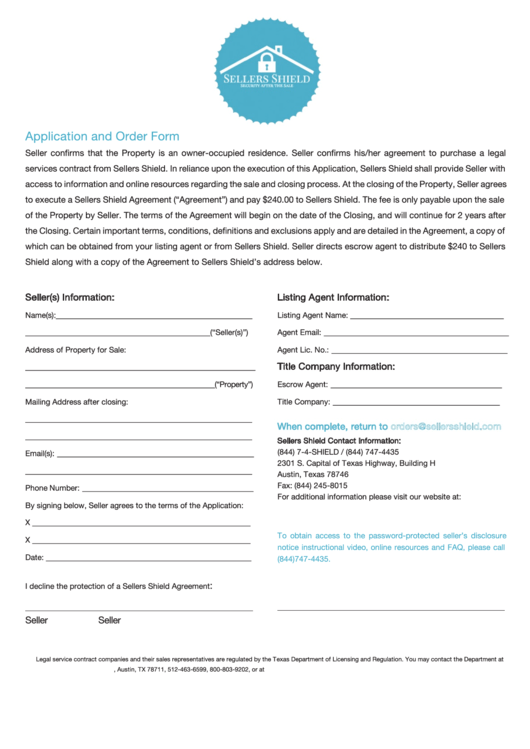 Application And Order Form - Sellers Shield