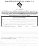 Suspected Fraud/criminal Activity Complaint Form