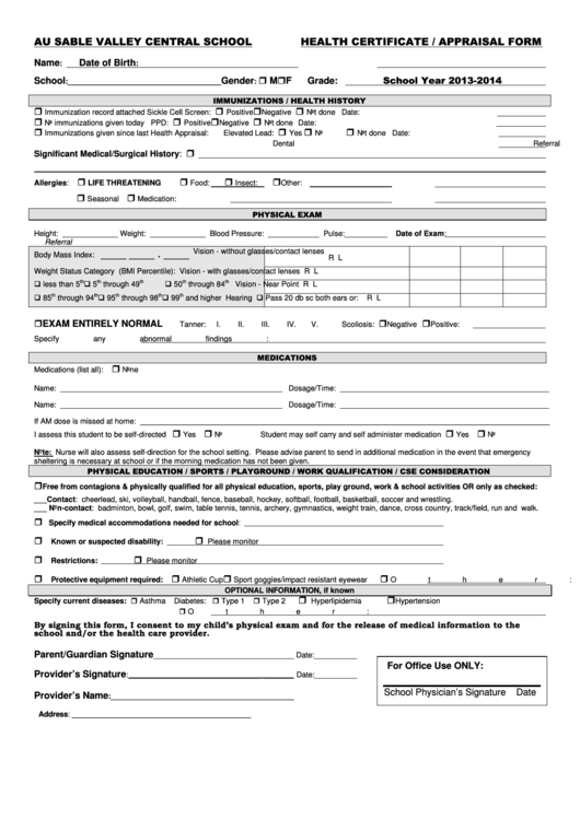 Top 32 Health Appraisal Form Templates free to download in PDF format