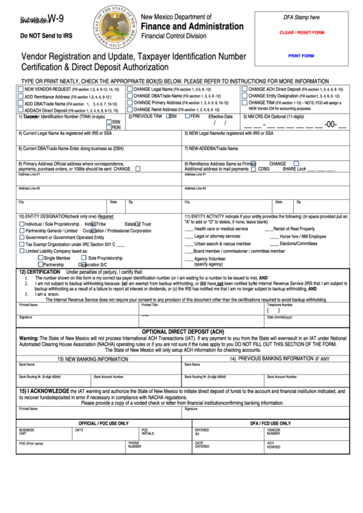 Fillable Form Substitute W-9 - Vendor Registration And