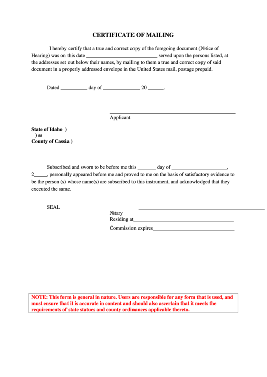 mailing certificate pdf county printable fillable cassia template