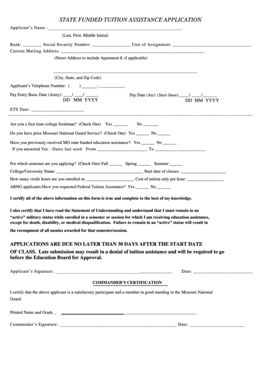 State Funded Tuition Assistance Application