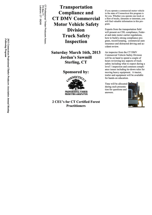Transportation Compliance And Ct Dmv Commercial Motor Vehicle Printable pdf