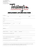 Employment Application Form Employment Application Form - Tersteegs
