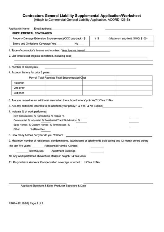 Dmv Release Of Liability >> Contractors General Liability Supplemental Application ...