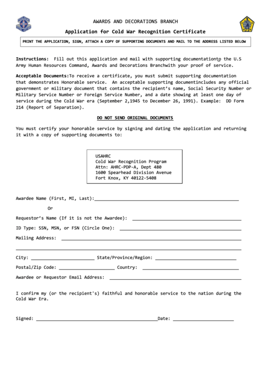 Fillable Application Form For Cold War Recognition Certificate ...