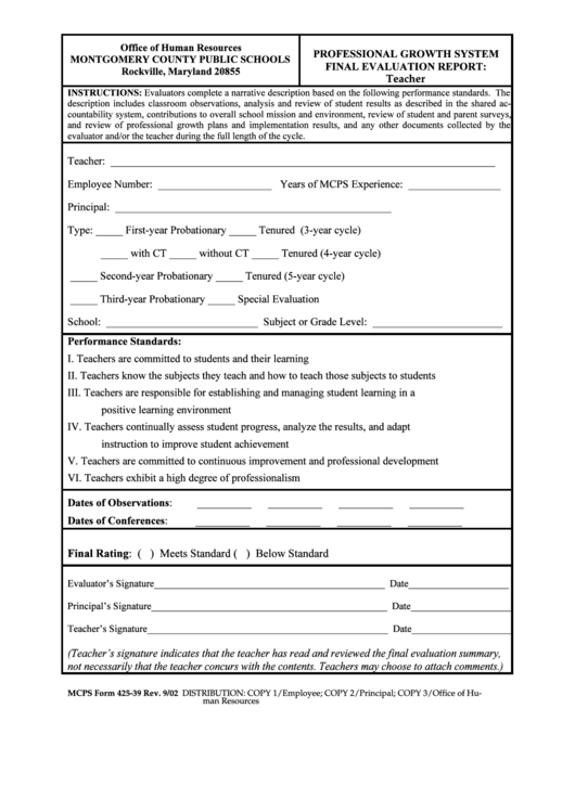 Mcps Form 425-39 - Professional Growth System Final Evaluation Report