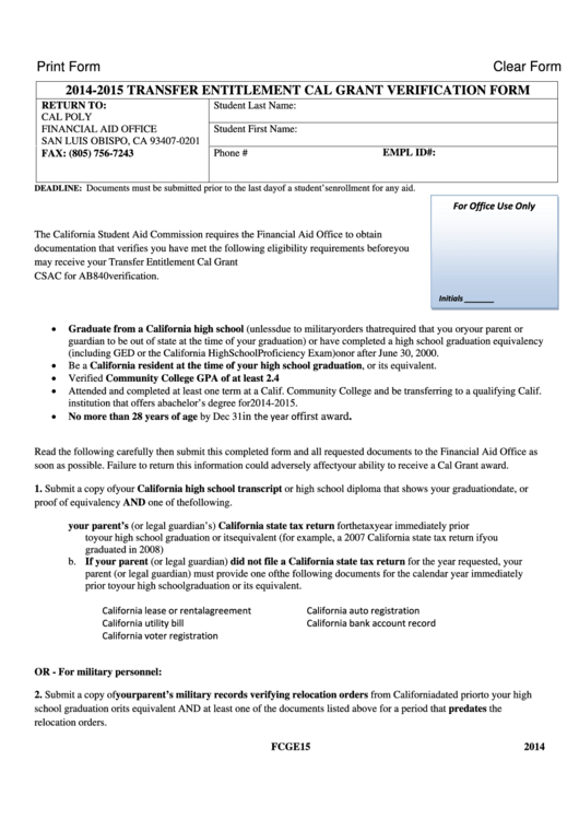 Top 9 Cal Grant Gpa Verification Form Templates free to download ...